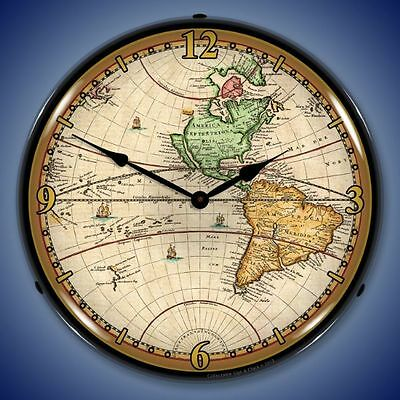 New Old World Map of 1730 LED LIGHT UP clock   Free Fast Shipping USA Made 🌎🌏 ()