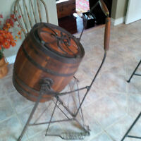 Antque LEADER Wood Barrel Butter Churn