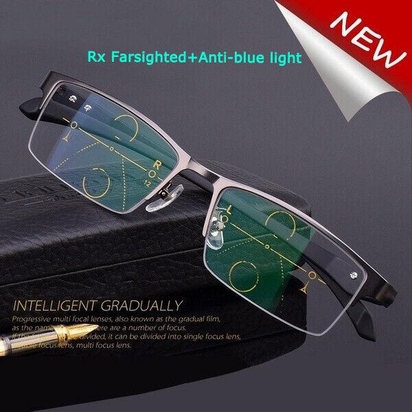 Progressive Multifocal Varifocals Reading Glasses +Rx Farsighted+Anti-blue light