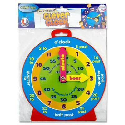 Clever Kidz Magnetic Tell the Time Clock Minute Hour Hands Learning Tool Guide