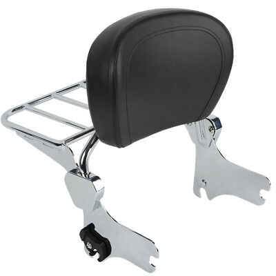 Detachable Backrest Sissy Bar w/ Luggage Rack For Harley Touring Road King 94-08