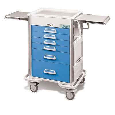 Steel Procedure Cart 6 Aluminum Drawers Electronic Lock 44.25h Crash Cart Blue