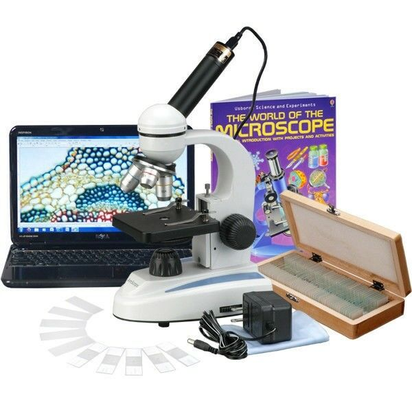 AmScope 40X-1000X Metal Student Compound Microscope, 50 Prep Slide, Book, Camera