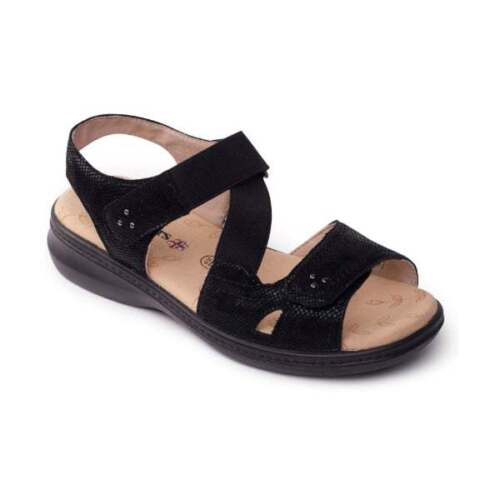 Padders LOUISE Ladies Womens Extra Wide Fit Touch Close Comfort Sandals Black