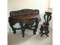 DECORATIVE CARVED AFRICAN CONSOLE TABLE HALF MOON & MATCHING CHAIR / STOOL