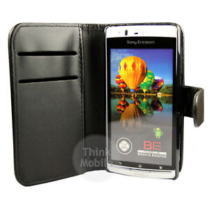 BLACK PU LEATHER WALLET CASE COVER FOR THE SONY ERICSSON XPERIA ARC S / ARC X12