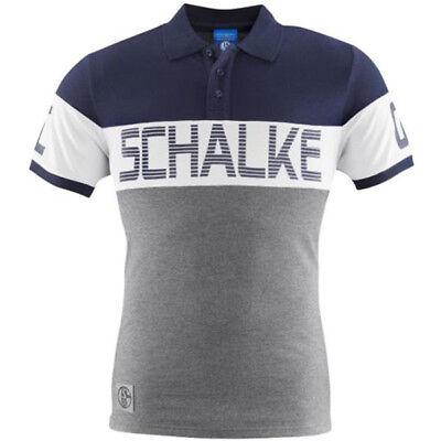 FC Schalke 04 Poloshirt Kontrast marine weiß grau S04 Shirt Schalke Schriftzug ()
