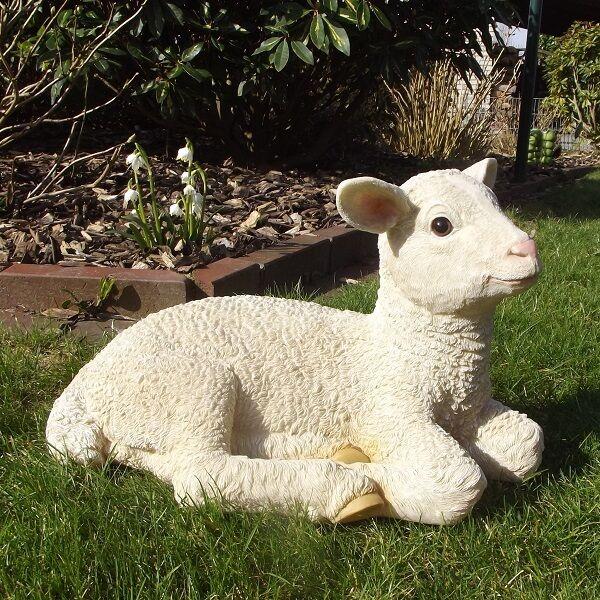 Gartenfigur Lamm 3907 Schaf Haus Garten Deko lebensecht Figur