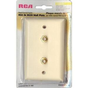 RCA Coaxial RG6 or RG59 1-Gang Wallplate - Double Jack Adapters - Ivory