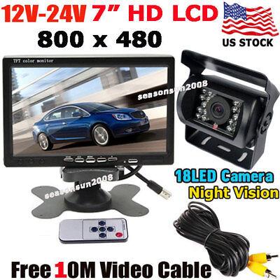 "Vehicle Parking Backup Camera Night Vison +7"" LCD Monitor for RV Truck Trailer"