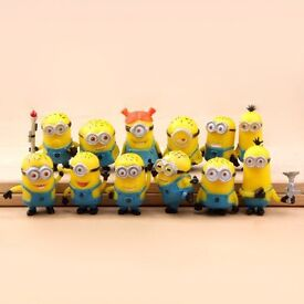 12pcs minions despicable me figures cake toppers new