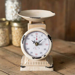 Rustic Farmhouse Country Small Kitchen Scale Clock Vintage Look