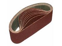 10x Sanding Belts 75 x 457 mm Grit 60, 80, 100 abrasive, sandpaper endless sander wood, metal,