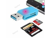 Universal Micro-USB OTG TF/SD Flash Memory Card Reader Charging for Smartphone Tablet PC