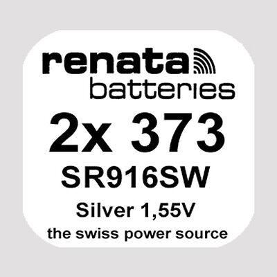 2x Renata 373 Uhren-Batterie Knopfzelle SR916SW Silberoxid Blisterware Neu Sr916sw Uhr Batterie