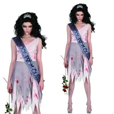 Erwachsene Damen Zombie Prom Queen Halloween Party Kostüm V37 902 ()