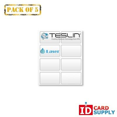 Teslin Synthetic Paper - 8.5 X 11 Perforated 8-up Laser Sheet Pack Of 5