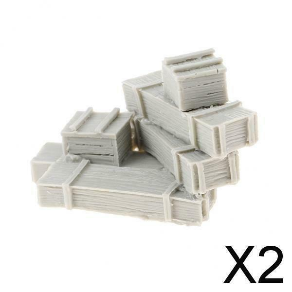 2X+Unpainted+1%2F35+Soldier+WWII+Resin+6+Crate+War+Scene+Sand+Table+Accessories