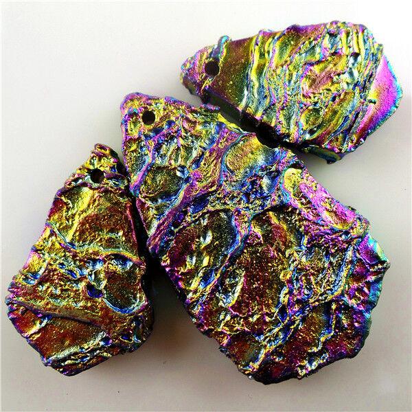 11pcs//lot Titanium crystal Agate Druzy Quartz Geode stone Pendant Bead 38*6*6mm