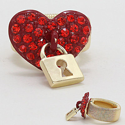 Heart Rhinestone Ring/Valentine's Day Gift for Her w/Lock  Free Style Red/Clear - Rings For Valentine's Day