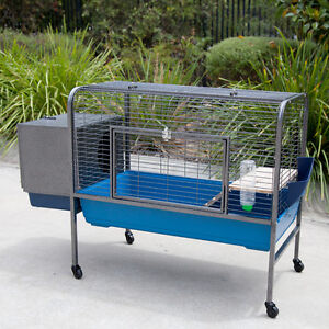 Raised-on-Castor-Rabbit-Cage-Guinea-Pig-Hutch-with-External-House-Box