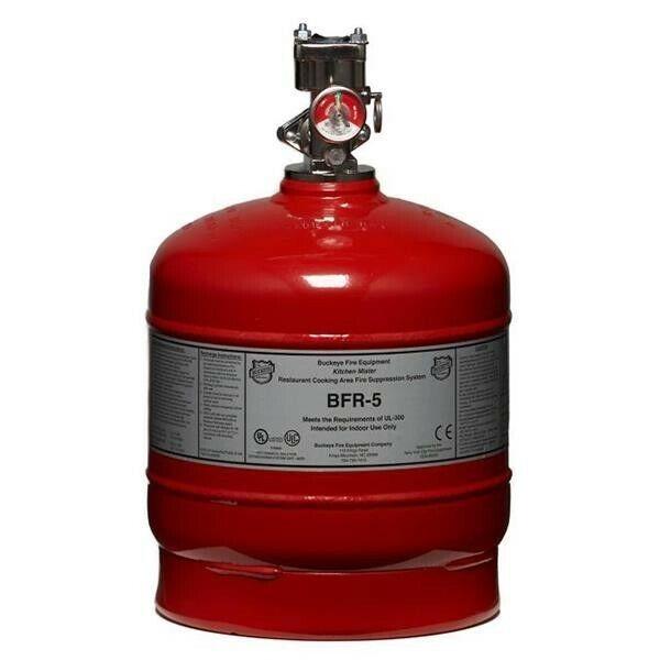 BUCKEYE BFR-5 Fire SuppressionSystem Cylinder - 5 Flow Point Cylinder w/ Valve