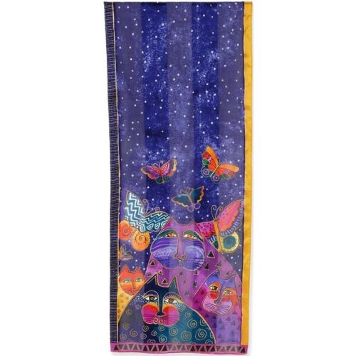 "Laurel Burch #LBS197 Cats with Butterflies 53"" X 11"" 100% Silk Artistic Scarf~"