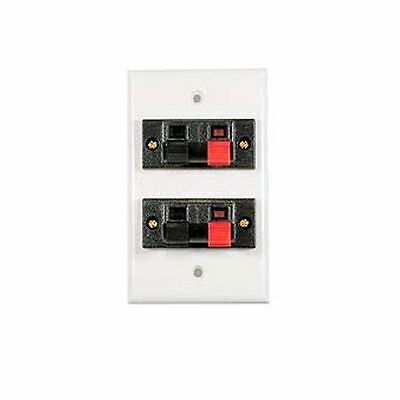 Speaker Jack Wall Plate White 16 GA wire Dual Clip up to 16 AWG Jack Wall Plate
