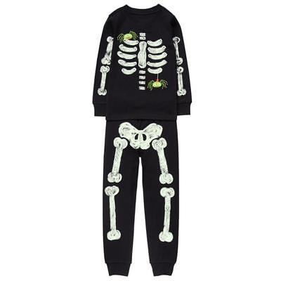 NEW Gymboree Skeleton Halloween spiders Gymmies pajamas PJs Black Boys size 3 3T](Skeleton Pajamas)