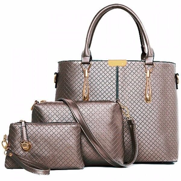 Office Style Metal and Plaid Design Tote Bag For Women