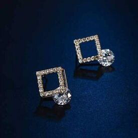 Pair of Chic Hollow Out Square Rhinestone Earrings