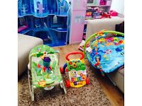 Swing baby seat which vibrates,musical play gym,baby walker Gosforth area)