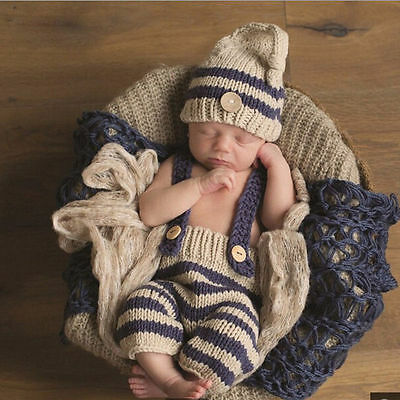 US Sell Newborn Baby Boy Crochet Knit Costume Photo Photography Prop Outfit Set](Newborn Costume)