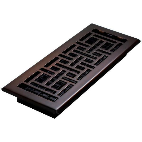 "Decor Grates 4"" x 12"" Steel Floor Register, Oil-Rubbed Bronze"