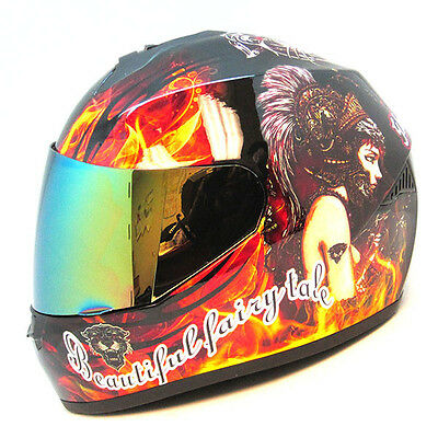 1Storm Motorcycle Street Bike Full Face Helmet Ghost Girl Lady Black S M L