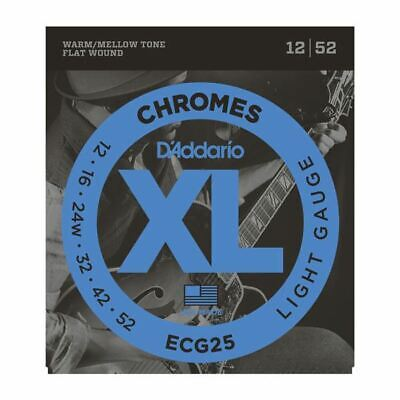 Daddario ECG25 Chromes Flat Wound Electric Guitar Strings, Light, 12-52
