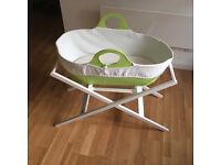 Mobo Moses Basket and New Mattress + wooden stand