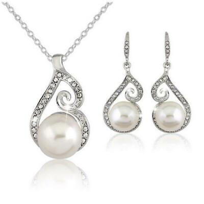 WOMENS DROP EARRINGS & PENDANT NECKLACE JEWELLERY SET WEDDING PARTY XMAS UK