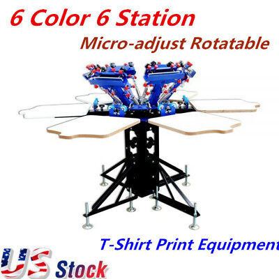 6 Color 6 Station Manual Screen Printing Press Micro-adjust Rotatable Equipment
