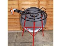 90 cm stainless steel Paella Pan, with gas ring, stand and half full gas bottle
