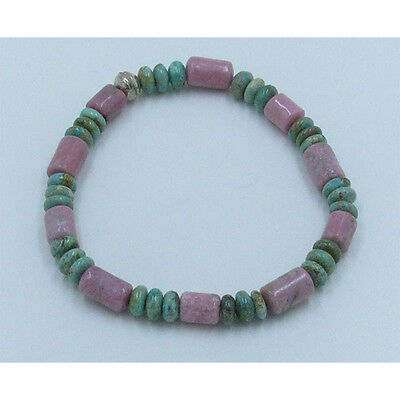 .925 Sterling Silver Natural Green Turquoise Rondell Rhodonite Stretch Bracelet