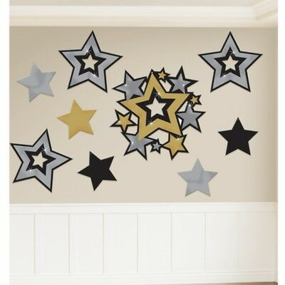 Hollywood Glitzy Theme Decoration Black Gold and Silver Stars Cutouts - 197891 (Gold And Black Theme)