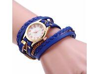 Women Vintage Weave Wrap Leather Bracelet Wrist Watch