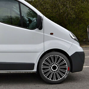 16 opel vivaro primastar wheel trims hubcaps qty 4 black silver wtlem16 ebay. Black Bedroom Furniture Sets. Home Design Ideas