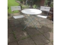 French Style Shabby Chic Bistro Garden Table & Chairs