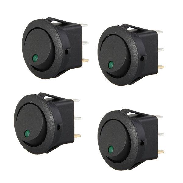 4 Mini Round Green LED Rocker Indicator Switch 3 Pin On-Off 12V DC HY