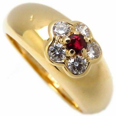 Van Cleef & Arpels 18K YG Fleurette Diamond Ruby Ring