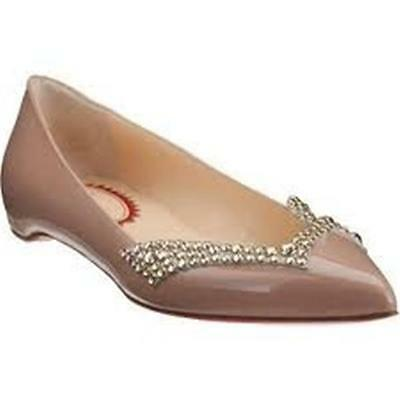 Christian Louboutin PIGALOVE 20ANS Nude Patent Leather Crystal Flat Shoes 39