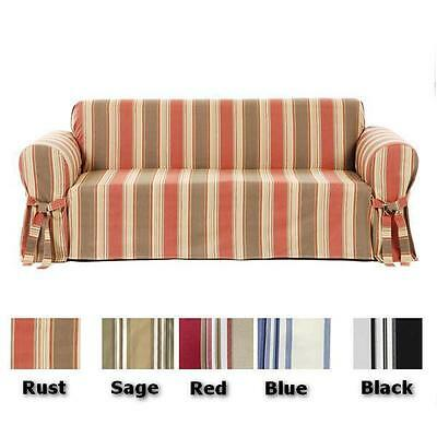 Cotton Loveseat - Twill Cotton Stripe Sofa or Loveseat or Chair Slip cover  in 5 COLORS