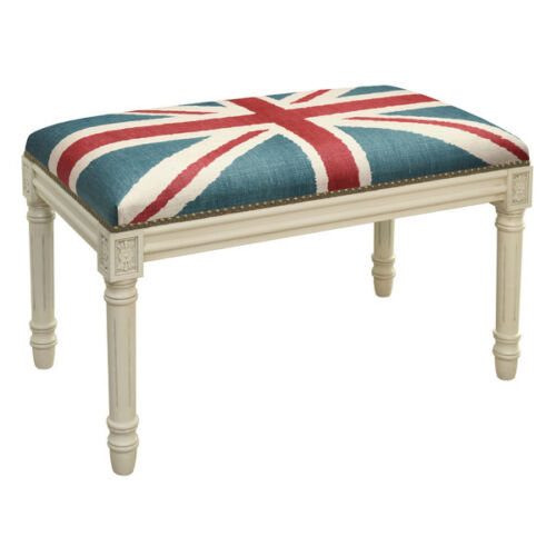 BENCHES - UNION JACK UPHOLSTERED BENCH - VANITY BENCH - ANTIQUE WHITE FRAME